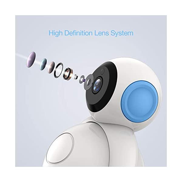 HOMIEE 720P Digital Robot Appearance Camera Exclusive for HOMIEE Baby Monitor, Sound & Temperature Alert, Two Way Audio and Baby Lullabies, Night Vision with 1000ft Range (Additional Camera) HOMIEE 【Pair with up to 4 Cameras】 Up to 4 cameras can be hooked up to HOMIEE baby monitor for more babies, each camera will loop for 10 seconds. Additional camera only works with HOMIEE BM1002 Baby Monitor. 【360-Degree Omnidirectional Coverage】The robot can be wireless controlled to rotate about 360 degree horizontally, to bow and lie down between 105 degree at most. HOMIEE video baby monitor also supports zoom for closer views on screen 【2.4GHz Wireless Connection Technology】No need to connect WIFI, needless of 3G/4G mobile data traffic, the 2.4GHz wireless technology provides 100% digital privacy and security, with range up to 1000ft in open space. Night vision is also supported 3
