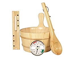 Classic Sauna Accessory Set, 5 Pieces, Made From Natural Wood