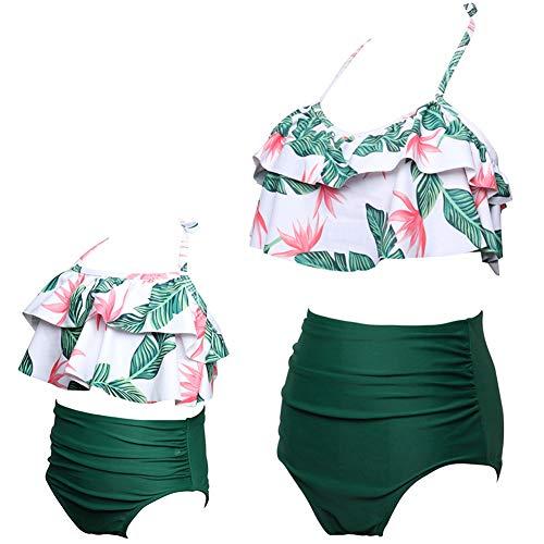 ChayChax Traje de Baño Mujer Niñas Lindo Conjunto de Bikini Madre e Hija Familia Volantes Talle Alto...