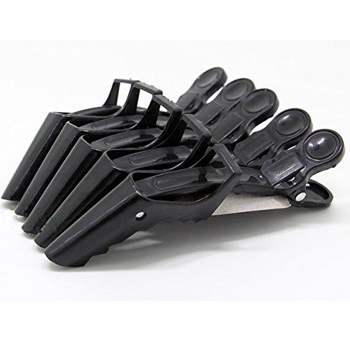 Neverland Pack de 5 Pinces pour Séparer les Cheveux Pinces à Charnière Salon Crocodile Noir