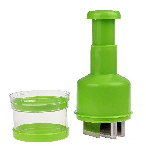 Minkoll Gemüseschneider, Gemüse Cutter Chopper Lebensmittel Pressen Zwiebel Knoblauch Slicer Peeler Dicer (grün) - Knoblauch-peeler Slicer