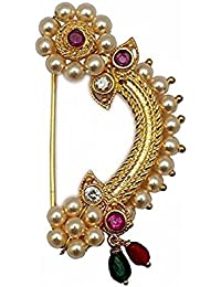 Love Gold Bajirao Mastani KASHIBAI's clip on Marathi Nath traditional Maharashtrian nose ring for Women