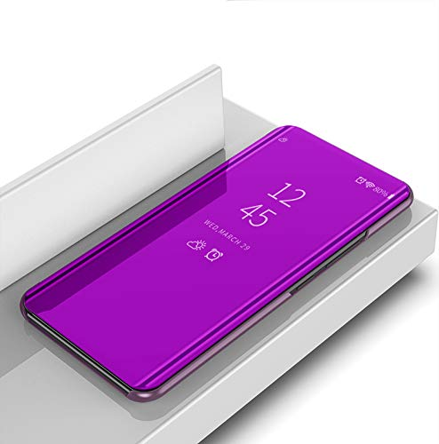 COVO® Oppo Realme 3 Hülle, Slim Smart Mirror Screen Cover & Ledertasche, Multifunktions Spiegel Fall Handyhülle für Oppo Realme 3-Rose lila