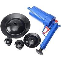 yaoyan Alta presión Drenaje de Aire Blaster Limpiador Plástico ABS Pliegue Aseos Inodoros Tubos y desagües obstruidos con 4 adaptadores - Azul