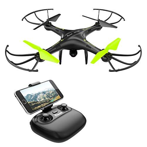 Potensic Drone con Telecamera HD, Avión con WiFi 2.4GHz FPV, RC Quadcopter Videocamara RTF Suspension de Altura , Modo sin Cabeza, Flip 3D, U42W Negro y Verde (Vi)
