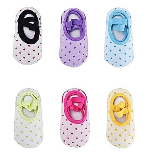 Tomkity 6 paia calzini per bambini calzini antiscivolo cotone 6 colori per 8-38 mesi neonati e bambini