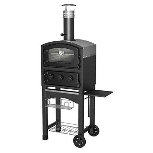 FORNETTO und Raucher-Outdoor Pizza Ofen-SCHWARZ (Holz-raucher Pizza-ofen)