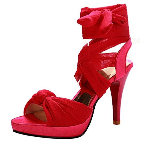 COOLCEPT Damen Mode Schnurung Sandalen Open Toe Stiletto Schuhe Rot