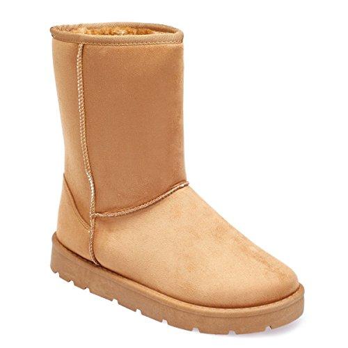 La Modeuse Boots Fourrées en Simili Daim Camel