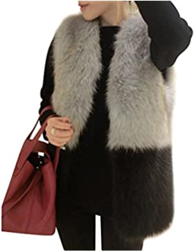 Mujer Chaleco Sin Mangas Faux Piel Abrigo Chaqueta Chaleco Largo Outwear Cardigan Parka