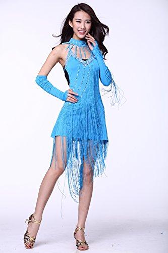 ... Damen Latin Dance Sling groß Diamant Kleid Ballsaal Rock Standard Ball  tragen Hellblau ...