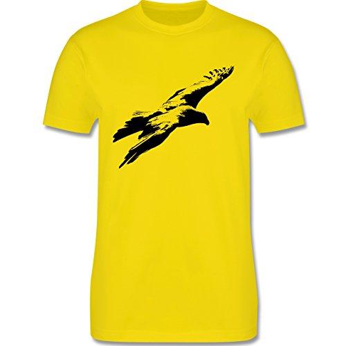 Tiermotive - Schwarzer Adler - L190 - Premium Männer Herren T-Shirt mit Rundhalsausschnitt Lemon Gelb