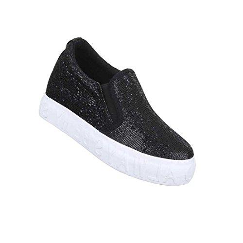 Damen Halbschuhe Schuhe Glitter Slipper Schwarz 36 37 38 39 40 41 Schwarz