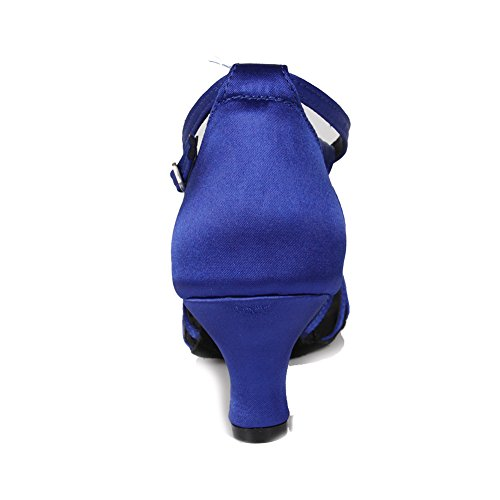 HIPPOSEUS Scarpe da Ballo Latino Satinato da Donna, Scarpe da Ballo, Modello WZJ-CL blu-BDJ-5