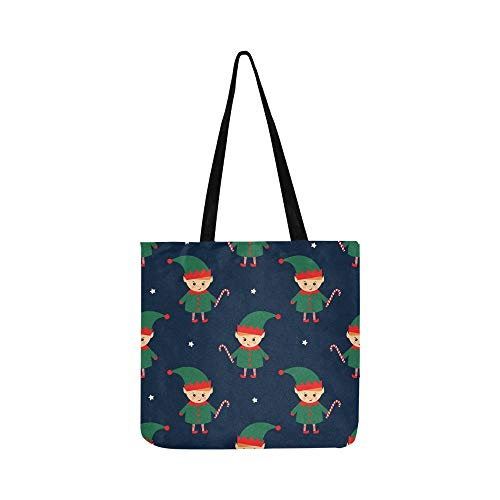 Christmas Elf Candy Cane Seamless Pattern Canvas Tote Handbag Shoulder Bag Crossbody Bags Purses For Men And Women Shopping Tote