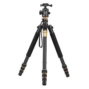 Andoer Q999C Pro Treppiede Monopiede Fibra di Carbonio la Palla di testa portatile staccabile Variabile Viaggio per la Videocamera Portatile DSLR