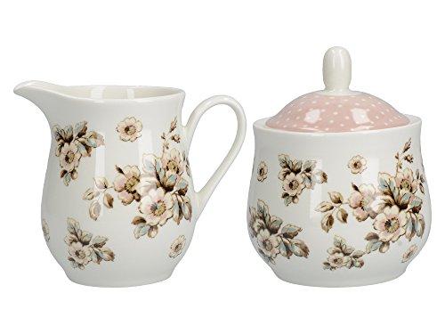 CREATIVE TOPS Zuckerdose und Milchkännchen aus Porzellan, von Katie Alice, Cottage-Stil, mit Blumenmotiv, Shabby Chic Landhaus, Blume Flower Sugar Bowl