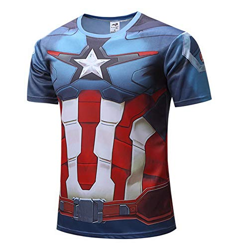HOOLAZA Captain America Avengers Männer Kurzarm Kompression T Shirt Herren Joggen Motion Blau Blue Short Shirt Herren Fitness Gym Beim Training T-Shirt