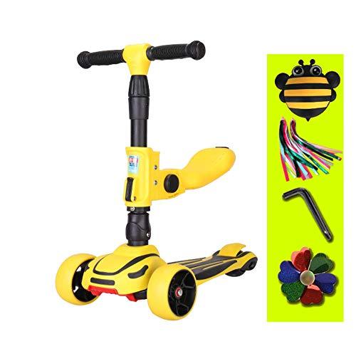 FAFEGVCFDS 2-in-1-Kinderroller 3-Rad-Tretroller mit verstellbarem Griff Abnehmbarer Sitz (gelb)