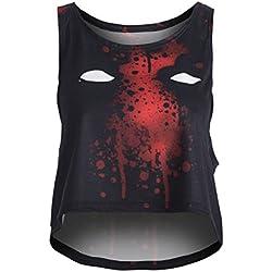 Fringoo Camiseta sin Mangas - Top Corto - para Mujer Multicolor Deadpool 36-38