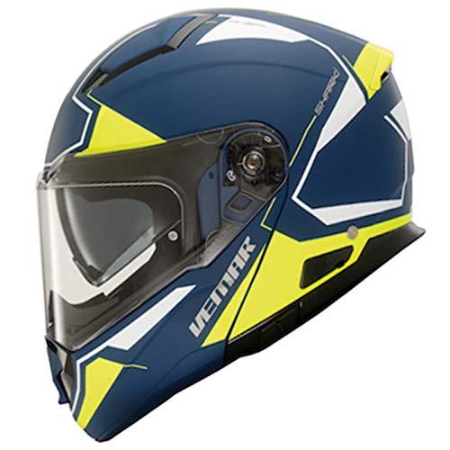 Vemar 2019 Sharki Cutter Casco da moto opaco blu e giallo fluorescente