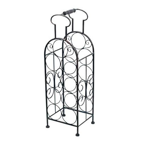 CAPRILO Botellero Decorativo de Metal para Botellas de Vino Botella con Asa. Muebles Auxiliares. Menaje de Cocina. Regalos Originales. 65 x 20 x 18 cm.