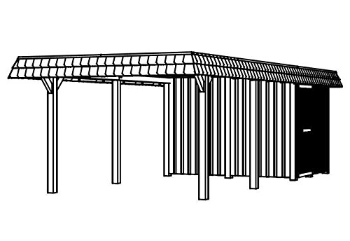 Skan Holz Carport Wendland 362 x 870 cm mit Abstellraum mit schwarzer Blende