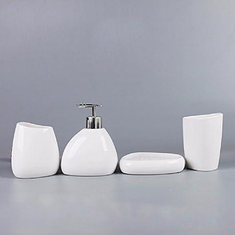 KHSKX Einfache keramische Badezimmer Vierstück, Japanisch anmutenden waschen Fünfstück, liefert Bad Satz, Zahnbürste spülen Pokalsieger,A