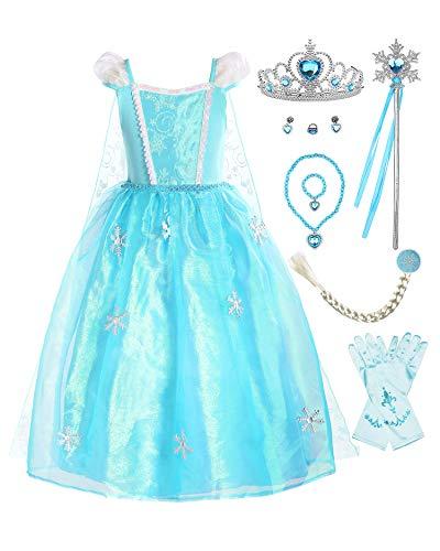 ReliBeauty Mädchen Kleid ELSA Prinzessin Eiskönigin Schneeflocke Organdie Kostüm mit Schleppe, Blau(Kurzarm, mit Zubehör), 120-130(Etikett - Pailletten Applikationen Für Tanz Kostüm