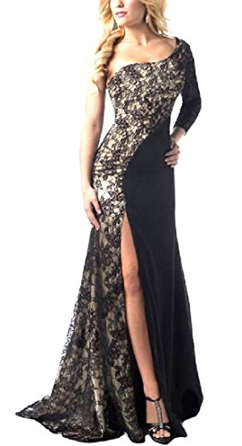 CuteRose Women's Premium Lace Stiching Classic Business Pencil Long Dress L Black -