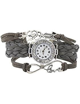 Armbanduhr - SODIAL(R)Damen geflochtenen Seil Infinity Love Kunstleder Band Strass Armreifuhr elegant Quarz Armbanduhr...