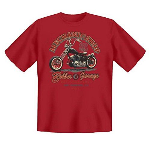 Biker & Motorrad T-Shirt geil bedruckt / Mechanic Shop ! Dunkelrot