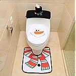Sunshier Casa Decorazioni di Natale Set da Toilette Coprisedile Coprivaso per Bagno in Tessuto Set di Pupazzi di Neve
