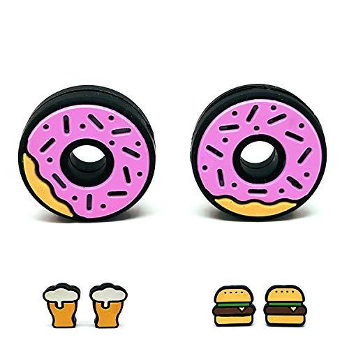 Tennis Feel Healthy Pack • Fast Food Dämpfer • Vibrationsdämpfer für Tennisschläger • Hamburger - Donuts • 2er Pack (Donuts)