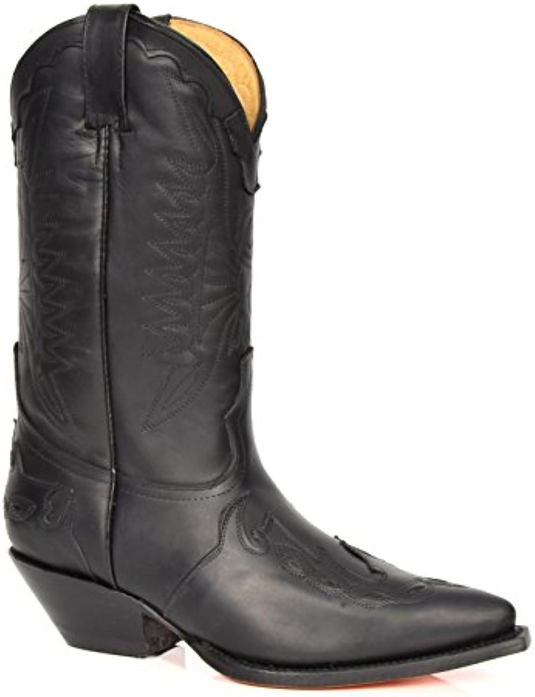 Stivali Cowboy in Pelle Scivolare su Appuntito Lunghezza di Vitello Tacco Western 01AR-Hi Nero   Online Shop    Uomo/Donna Scarpa