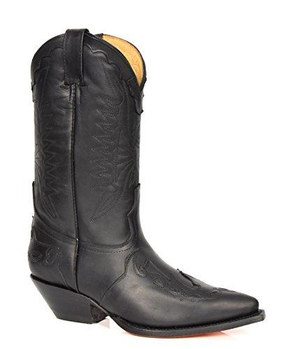 Herren Echte Leder Cowboy Stiefel Western Absatz Wadenlänge Schuhe HLG0AR (EU 40, Schwarz)