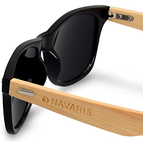 668fbece312e Navaris Wayfarer UV400 Bamboo Sunglasses - Unisex Retro Wooden ...