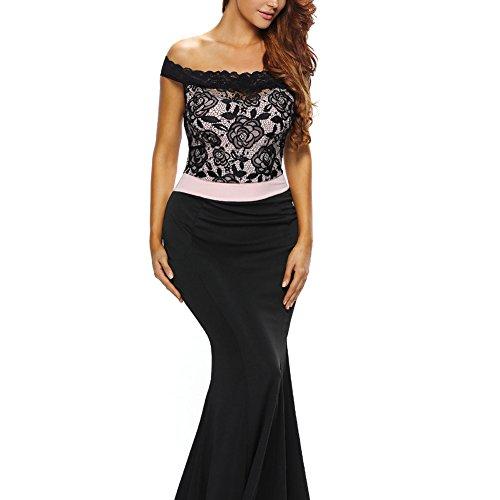 PU&PU Femmes / Cocktail Club Dentelle sans manches Off épaule sirène Maxi robe de soirée Black