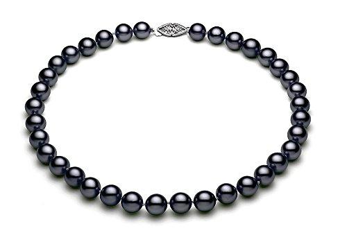 14K oro bianco nero collana di perle d' acqua dolce qualità AA + (9,5-10mm), oro bianco, colore: Black/Silver, cod.