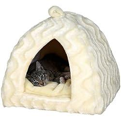 Cueva Suave Delia 40×40×42 cm Crema Trixie para perros y gatos.