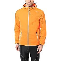 Ultrasport Chaqueta multifuncional de hombre Endy con Ultraflow 3.000, ligera y transpirable; por este motivo, ideal como chaqueta de correr, de entrenamiento o de ciclismo, impermeable y resistente al viento, Naranja, 2XL