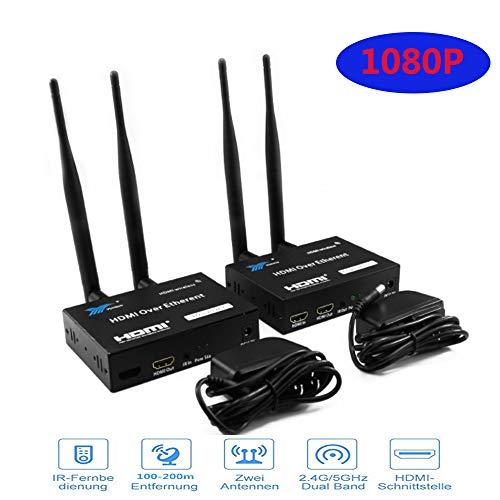 Wireless HDMI Trasmettitore e Ricevitore fino a 656Ft / 200m Controllo da Remoto IR con Trasmettitore e Ricevitore Amplificatore senza fili WiFi 2.4G / 5G(1080P)