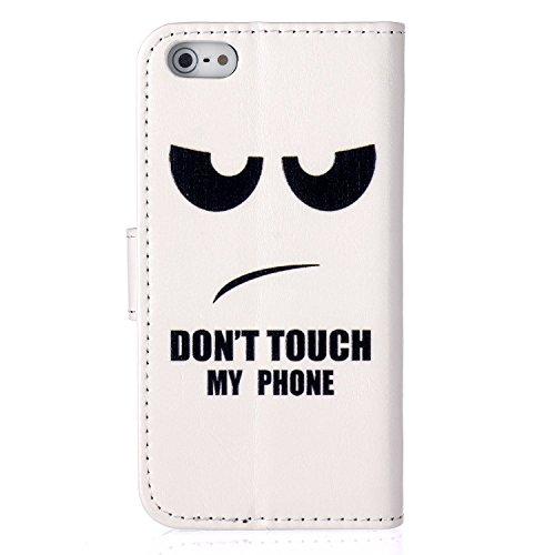 iPhone 6Plus/6S Plus Étui à rabat en cuir PU avec béquille, newstars Sky ou Fêtes Support pliant PU Portefeuille Rose Fleur d'Impression Design de cellules avec emplacements pour cartes pour iPhone 6 C1 Angry Face