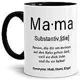 Tassendruck Tasse mit Definition Mama - Wörterbuch/Geschenk-Idee/Dictionary/Beruf/Job/Arbeit/Familie/Innen & Henkel Schwarz
