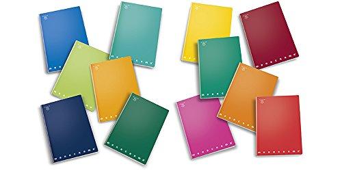 Pigna 00991465m - mini quaderni a quadretti 5mm, confezione da 10, colori assortiti, 12x17 cm