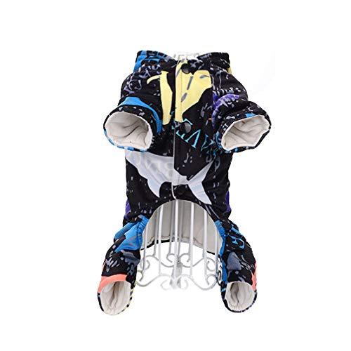 Balacoo 1 stück pet Kleidung Urlaub kostüm Hund Pyjamas Hund Bekleidung pjs Katze Overall abstrakte Druck Flexible für Hund welpen (mit Hut blau 10 / s) (Kleidung Pyjama Hund Pjs)