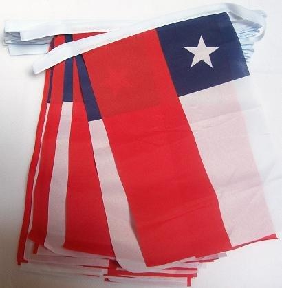 AZ FLAG FAHNENKETTE Chile 6 Meter mit 20 flaggen 21x14cm - CHILENISCHE Girlande Flaggenkette 14 x 21 cm