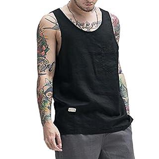 Men 100% Cotton Linen Vest Tank Top Summer Training Gym Tops Home Wear Black 3XL