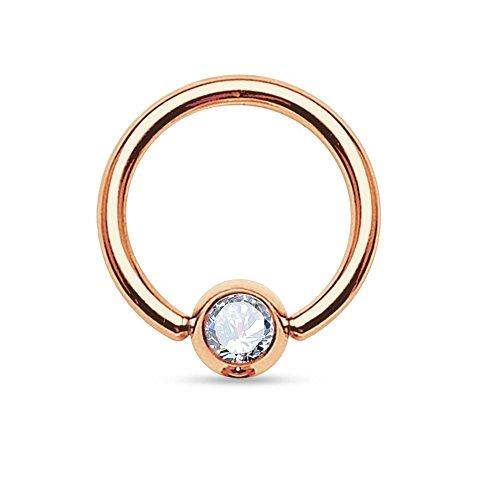 Paula & fritz® - piercing in acciaio chirurgico 316l, unisex, placcato oro rosa, con zircone - - - - - - e placcato oro, colore: neutro, cod. grr03-16083_c