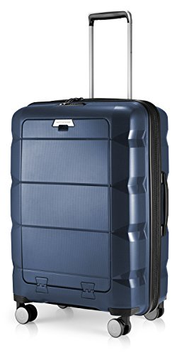 HAUPTSTADTKOFFER - Britz - Valigia rigida con scomparto per laptop Trolley da viaggio espandibile, leggero TSA, 4 ruote, 66 cm, 60 L, Blu scuro